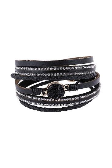 Hdb2983 - Rhinestone Encrusted Druzy Wrap Bracelet
