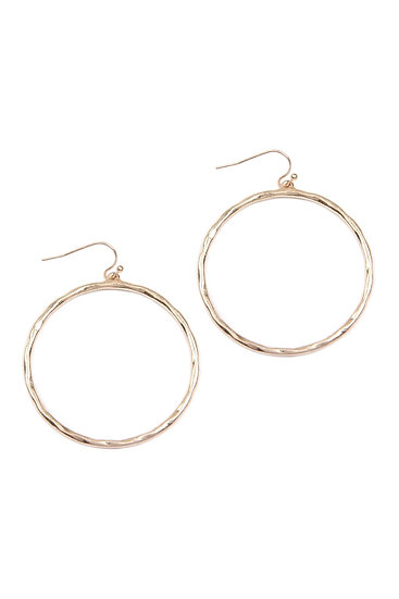 E8241 - Hammered Cast Hoop Earrings