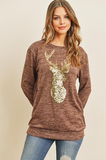 Brushed Hacci Sequins Reindeer Shape Top