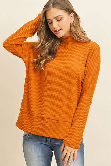 Mock Neck Side Slit Brushed Waffle Top