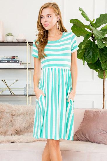 Short Sleeved Empire Waist Striped Pocket Dress