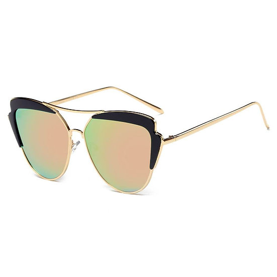 GALVESTON   CD11 - Women's Brow Bar Mirrored Lens Cat Eye Sunglasses