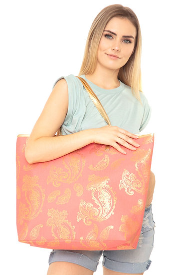 Mb0126co - Coral Gold Foil Paisley Tote Bag