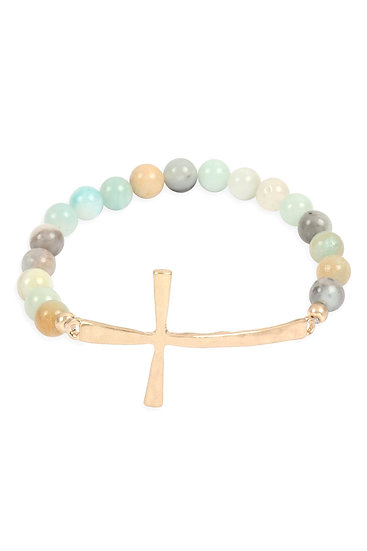 Myb1314 - Cross Charm Natural Stone Beads Bracelet