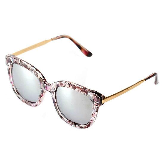 DEKALB | CD02 - Women's Oversize Mirrored Lens Horned Rim Sunglasses