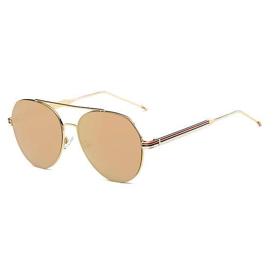 ERIE | S2006 - Modern Teardrop Aviator Flat Mirrored Flat Lens Sunglasses