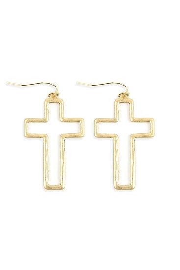 Hde2649 - Cast Open Cross Hook Drop Earrings