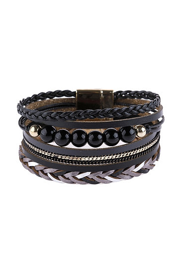 Hdb2979 - Leather Braided Beads Wrap Magnetic Bracelet