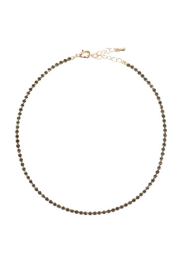Dna020 - Stone Chain Choker Necklace