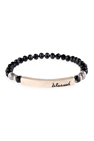 "Hdb3007 - ""Blessed"" Rondelle Beads Stretchable Bracelet"