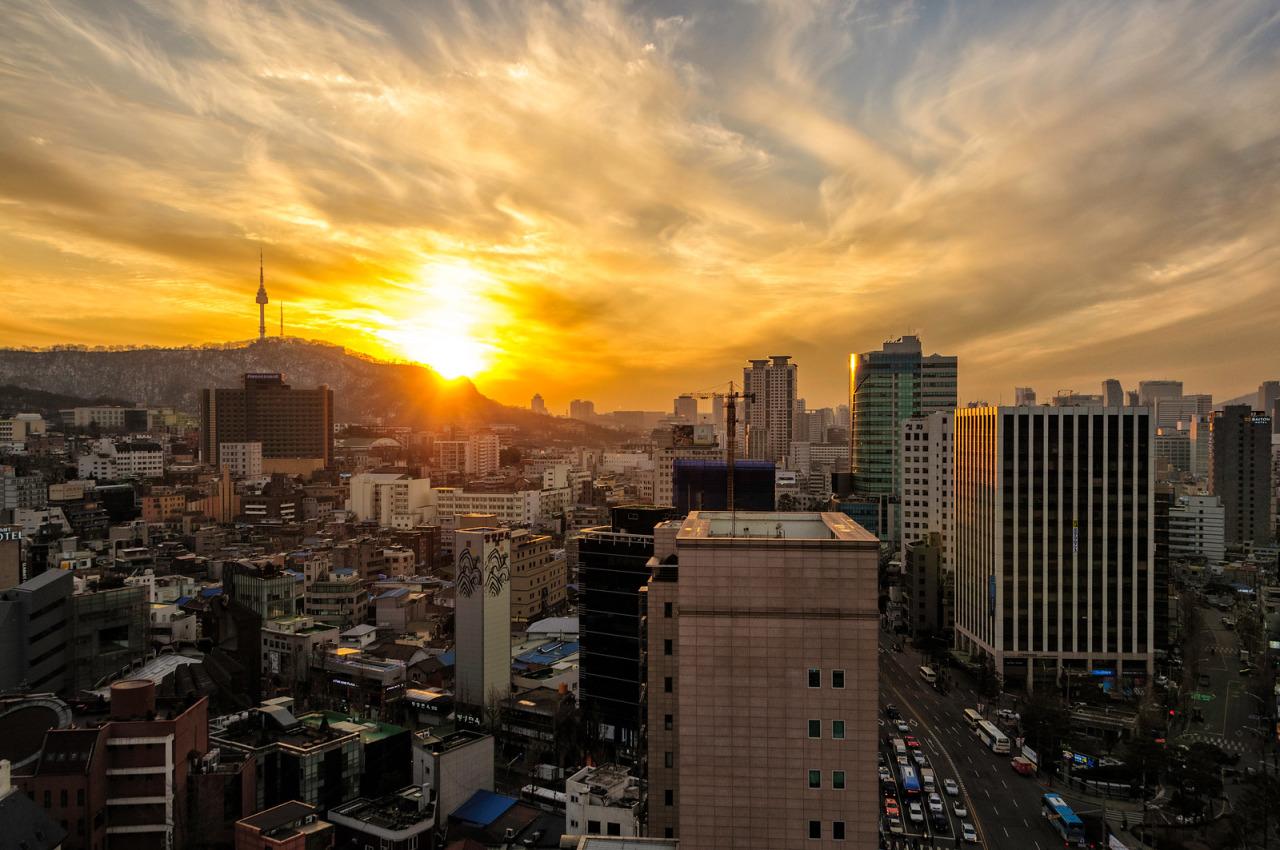Itaewon Seoul sunset