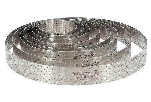 Cercle à tarte perforé VALRHONA à bord droit inox Diam 18.5cm Ref 3099.07