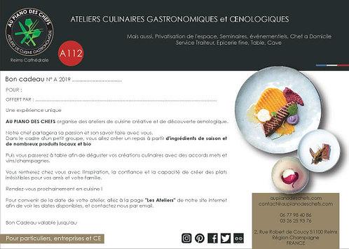 BON CADEAU Atelier de cuisine de 3H suivi d'un repas incluant vins/champagnes
