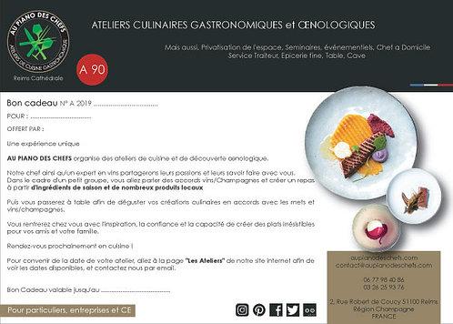 BON CADEAU Atelier Gastrœnologique de 3H vins champagnes et mets inclus