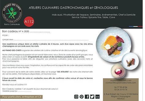ATELIER culinaire de 3H00 suivi d'un repas vins et champagnes inclus
