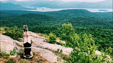Headstand on Cat Mountain, Lake George, NY
