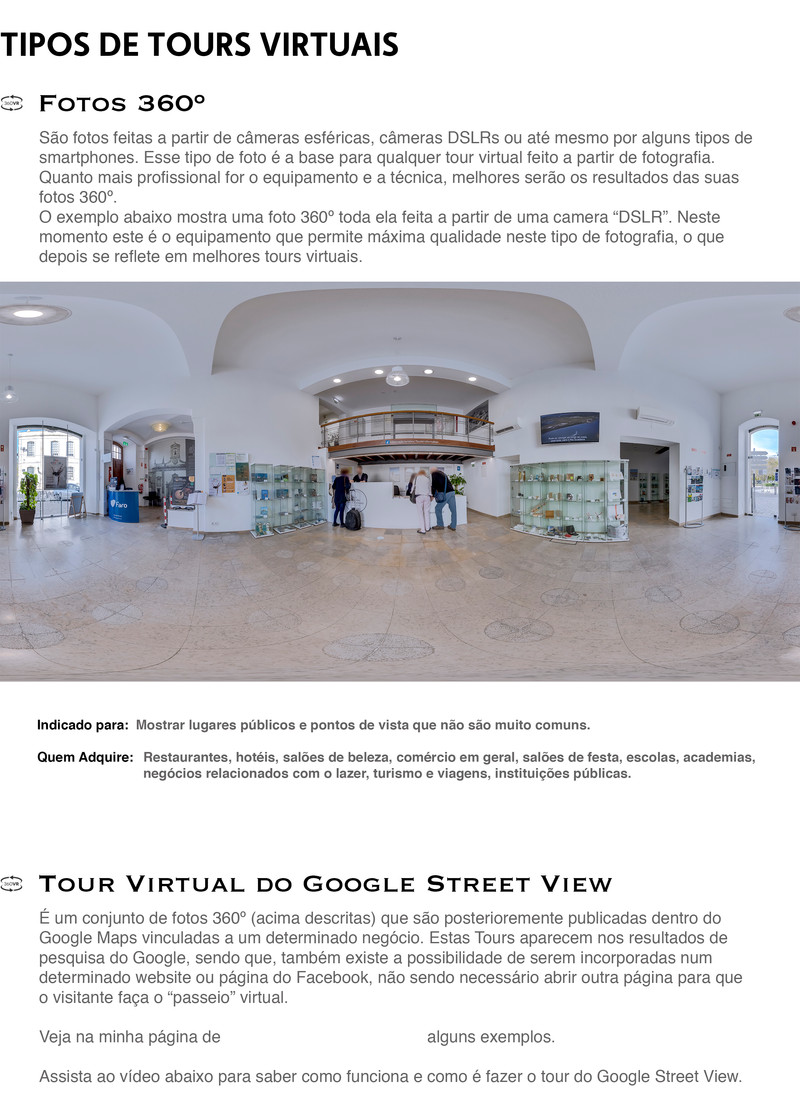 Tipos de Tours Virtuais - Fotos 360º, Tour Virtual do Google Street View, Tour Virtual Interactivo