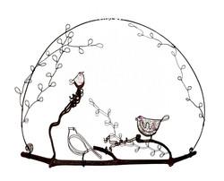 oiseaux fil de fer sur une branche