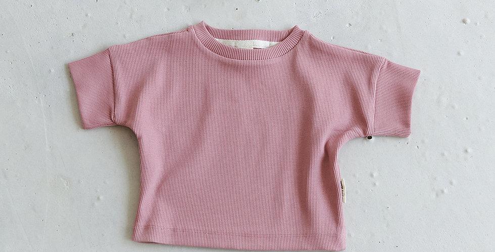 Ribbed T-shirt - Rock Pink