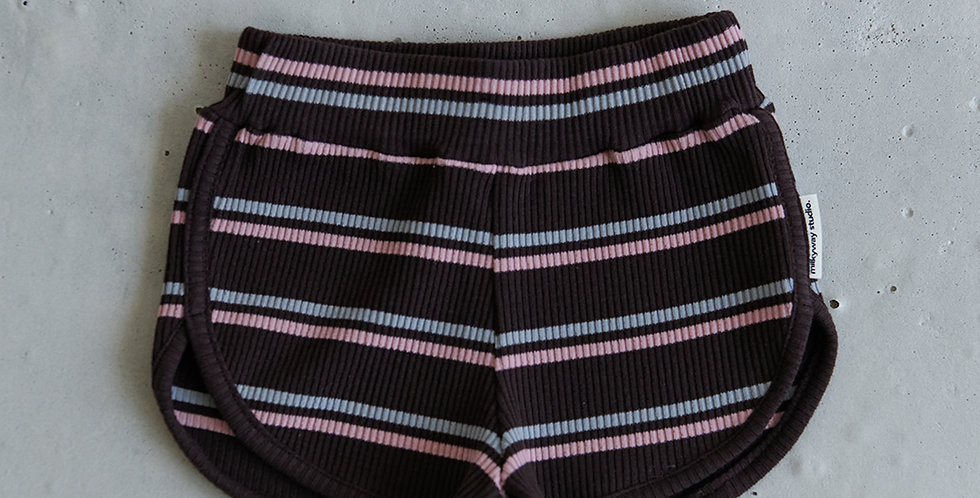 Ribbed Striped Short - Brown
