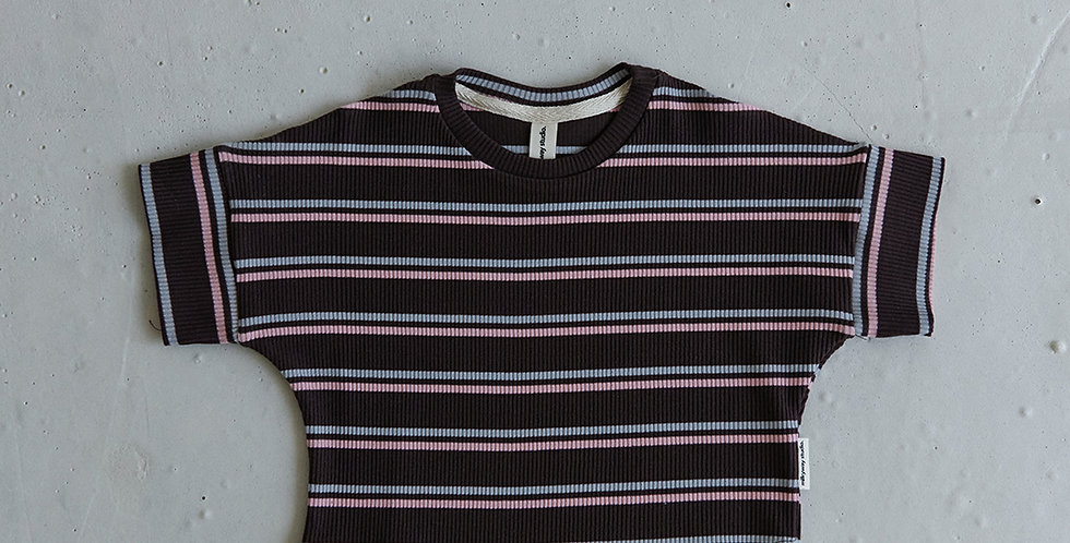 Ribbed Striped T-shirt - Brown