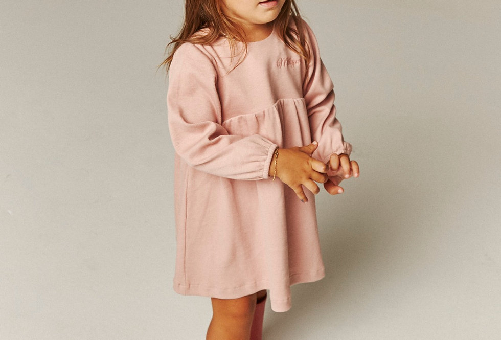 Ribbed Petit Dress - Misty Rose