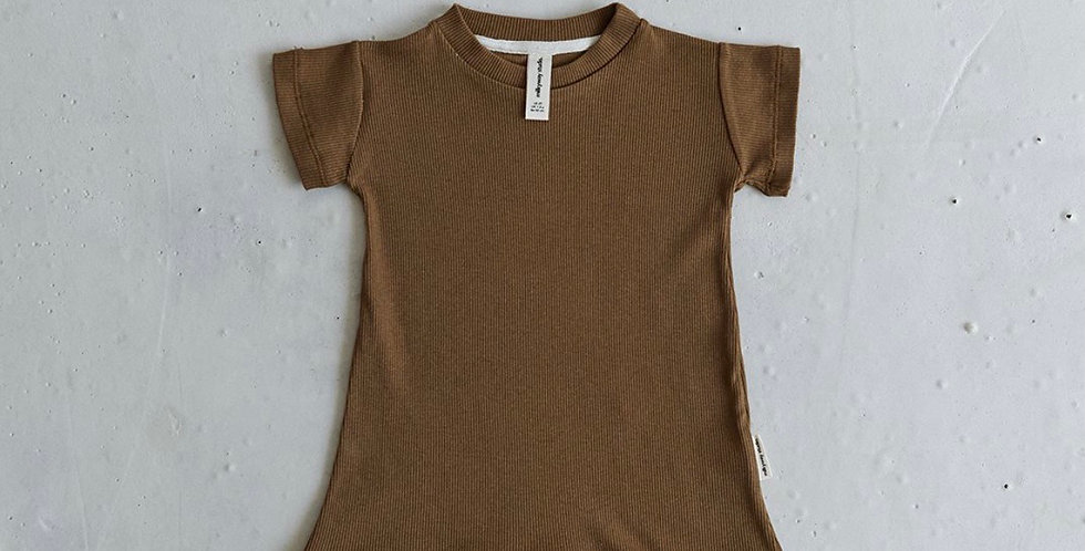 Ribbed Romper - Coffee