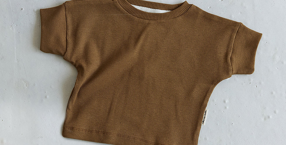 Ribbed T-shirt - Coffee