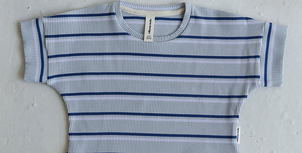 Ribbed Striped T-shirt - Blue
