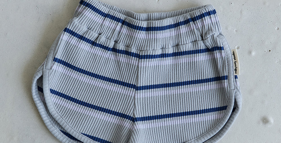 Ribbed Striped Short - Blue