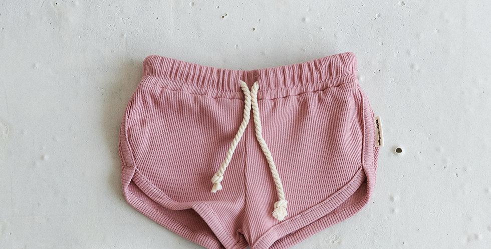 Ribbed Short - Rock Pink