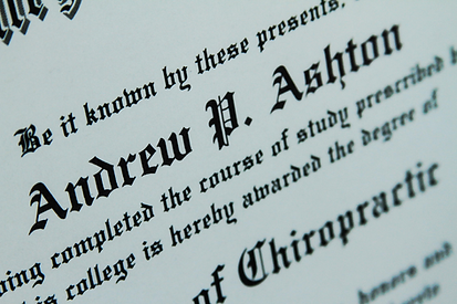 Diploma for Lancaster Chiropractor Andrew Ashton at A Therapeutic Effect