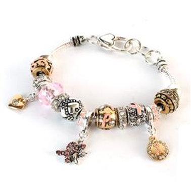 Pink Ribbon Charm Bracelet