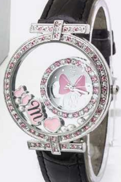 Minnie Mouse Black Studded Watch