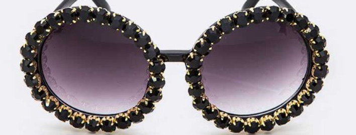 Black Studded Round Sunglasses
