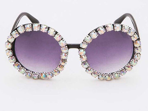 Cloudy Crystals Round Sunglasses