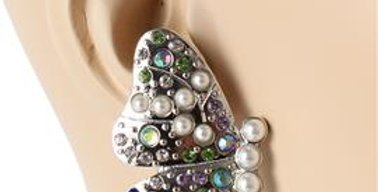 Silver Colored Butterly Pearl Earrings