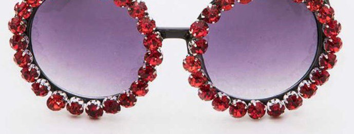 Red Crystal Round Sunglasses