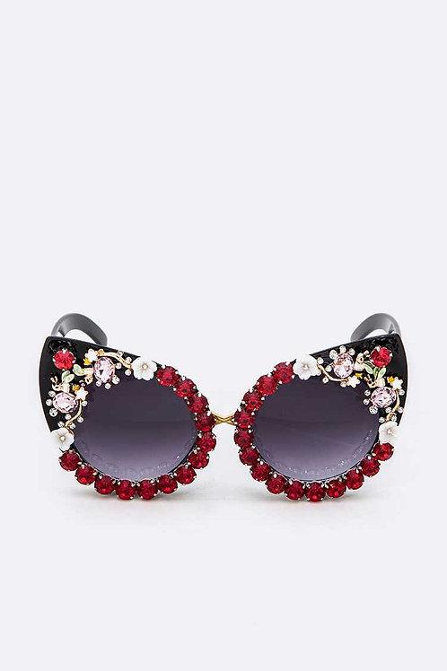 Red Rhinestone Kitty Eyewear