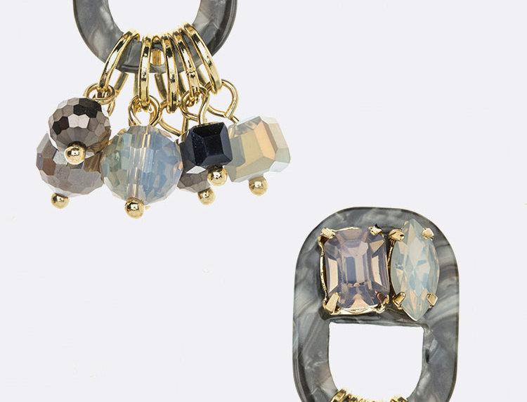 Silver Multi Color Earrings