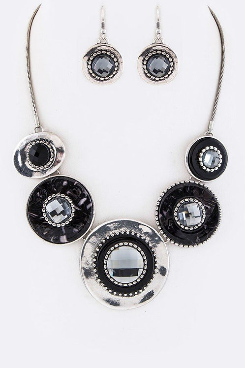 Silver and Black Medal Necklace