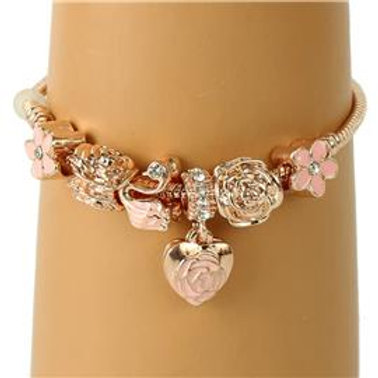 Pink Hearts Charmed Bracelet