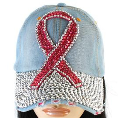 Denim Pink Ribbon Hat