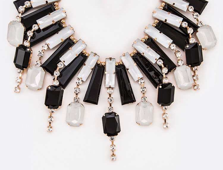 Black and White Jeweled Necklace