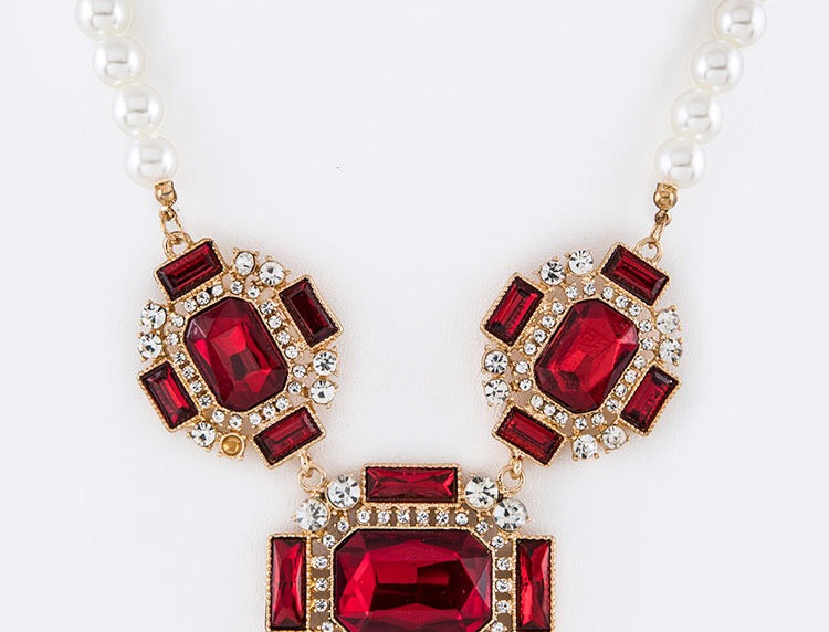 Red Crystal and Pearl Necklace