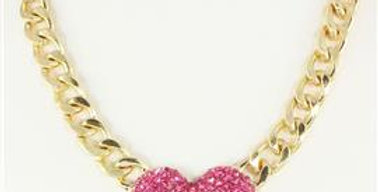 Pink Studded Heart Necklace
