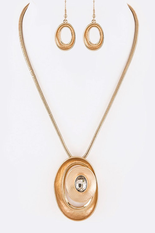 Gold Circle Jewel Necklace