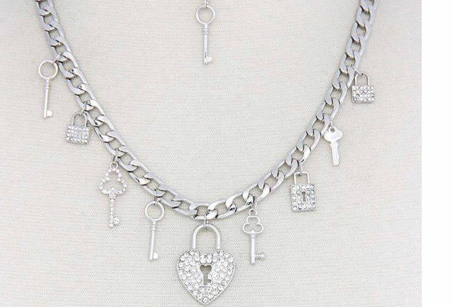 Silver Colored Charm Necklace