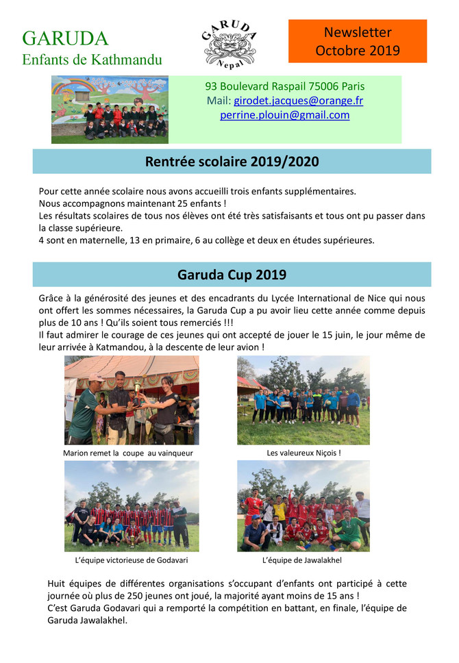 Newsletter Octobre 2019