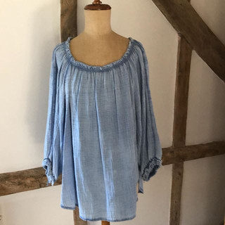 Cheese cloth Bardot style top in chambra